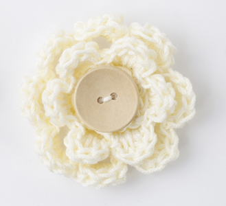 Crocheted flower clip