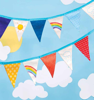 "This colorful ""Rainbow Bunting"" is another fun project featured in Sewing For Kids."